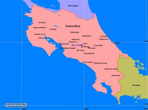 costa rica population map costa rica political map a learning family