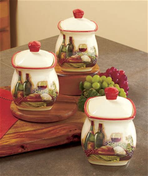 grape kitchen decor 3 vineyard canister set wine bottle grape tuscan theme