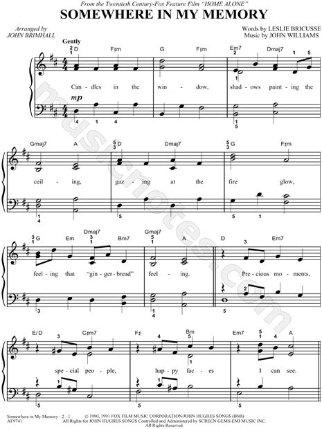 go light your piano sheet quot somewhere in my memory quot from home alone sheet