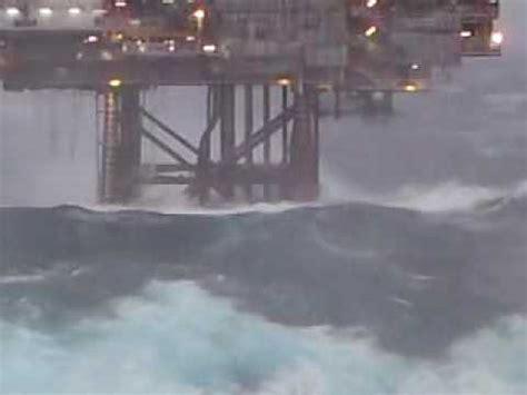 huge wave hits dunbar oil rig north sea : heavyseas