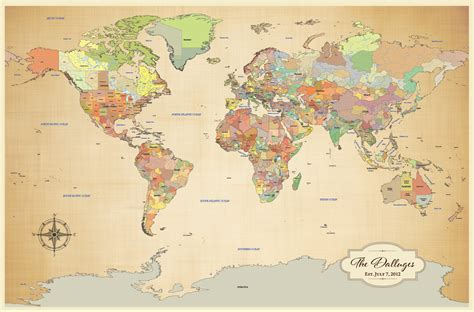 map my travels cotton anniversary gift push pin world map by jwdesignstudio