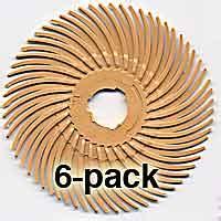 radial bristle discs 6 micron, 3,000 grit, peach, 2 inch