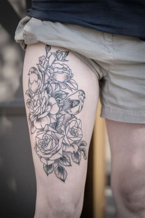 black lines roses with birds tattoo on hip by alice