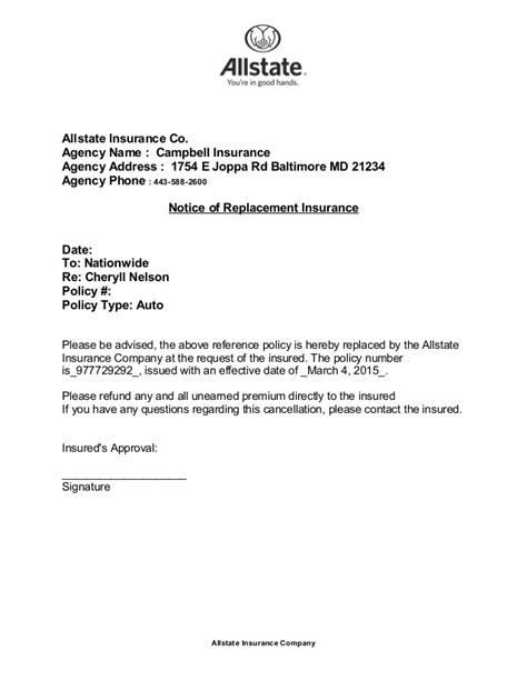Registered Letter Of Cancellation Insurance Nelson Cancellation Letter