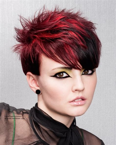 short spiky haircut with daring hair color contrasts