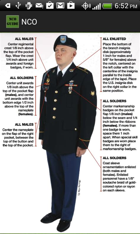army dress blue uniform guide measurements army asu army nco guide android apps on google play