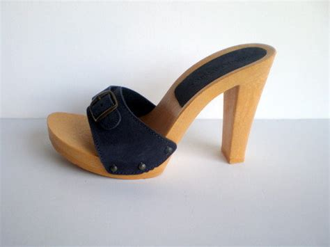 vintage 70s 80s mules heels platform shoes / high heel 1970s