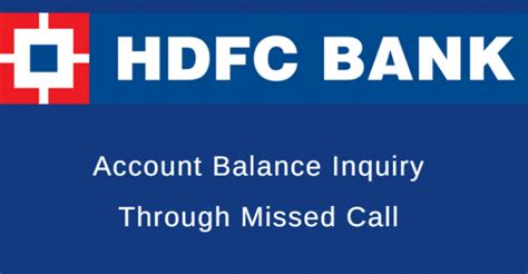 Hdfc Account Balance Inquiry Through Missed Call