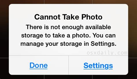 iphone cannot take photo because not enough storage