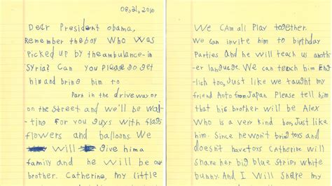Inquiry Letter For Birthday He Will Be Our Boy 6 Asks Obama To Bring Syrian Boy To Live With Him The Two Way