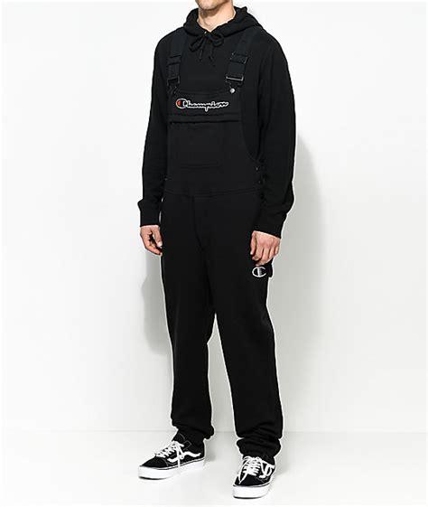 Overall Black Set chion black fleece overalls zumiez