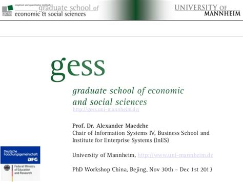 School Of Economics And Political Science Mba Ranking by Graduate School Of Economics And Social Sciences At The