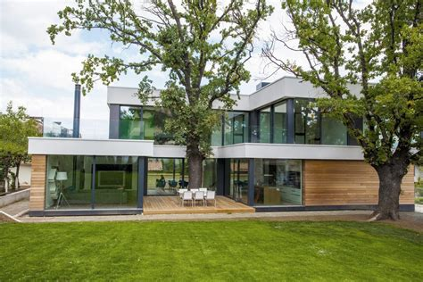 home incorporates thermal balance of 2 oak trees in design