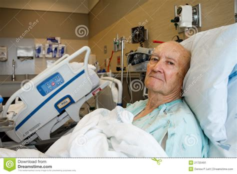 patient in hospital bed patient sitting up in modern hospital room stock image