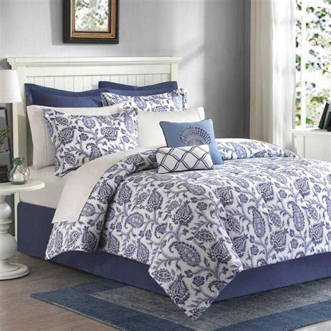 blue comforter set the madison park nantucket blue queen comforter set