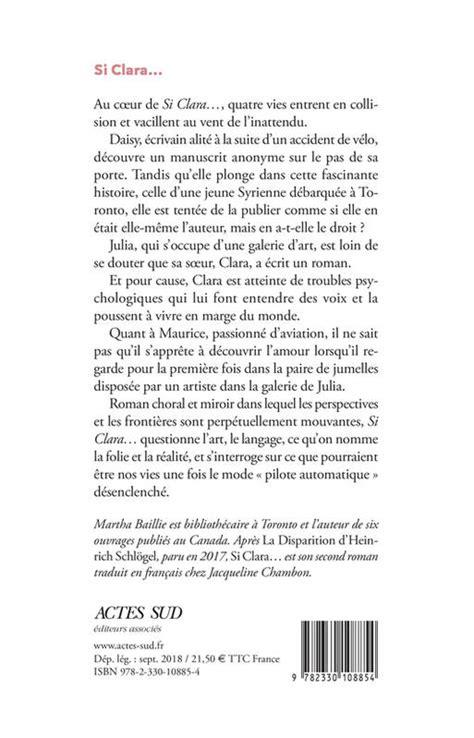 Livre: Si Clara..., Martha Baillie, Éditions Jacqueline