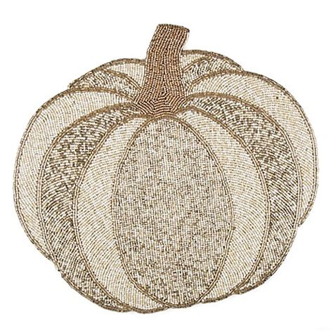 white beaded placemats buy beaded pumpkin placemat in white from bed bath beyond