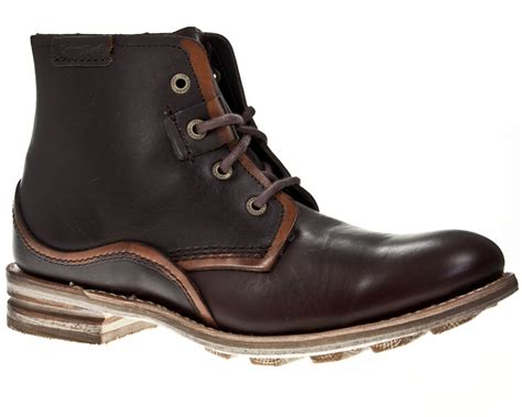 caterpillar warren mens two tone brown leather
