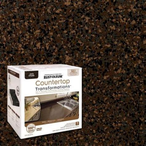 Rust Oleum Spray Paint Countertops by Rust Oleum Transformations 1 Qt Java Large Countertop Kit 258283 The Home Depot