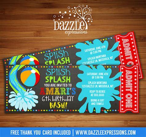 printable ball tickets printable pool party chalkboard birthday invitation