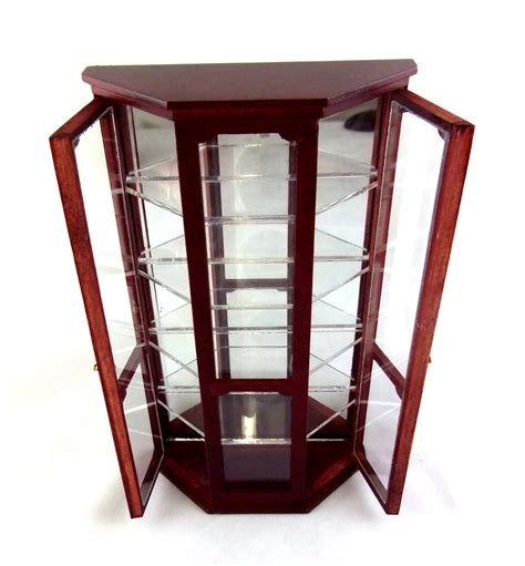 dolls house display cabinet dolls house miniature wooden furniture mirrored china curio shop display cabinet ebay