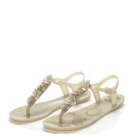 chanel jelly sandals chanel jelly camellia sandals 36 beige 195979