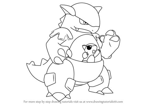 how to draw learn how to draw kangaskhan from step