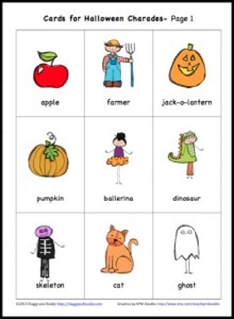 halloween themed charades free printable halloween charades game for kids buggy
