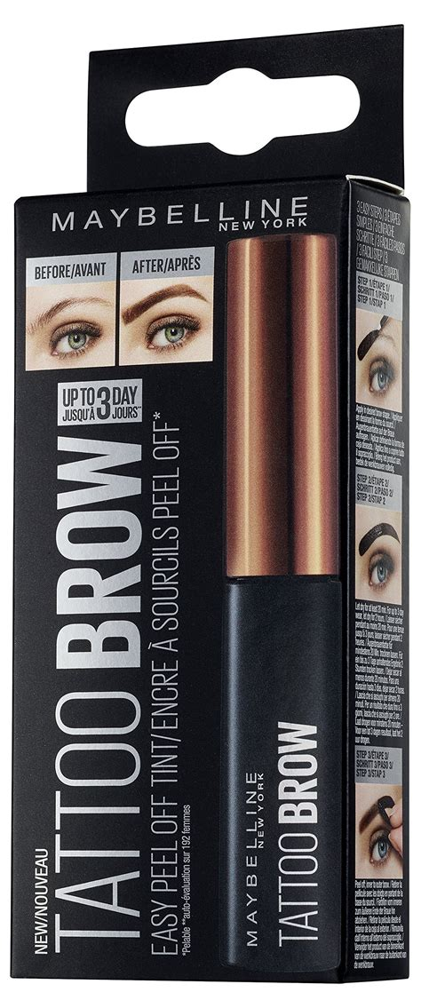 tattoo brow maybelline medium brown amazon com maybelline new york tattoo brow tint dark