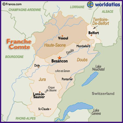 map of the franche comte region of france including