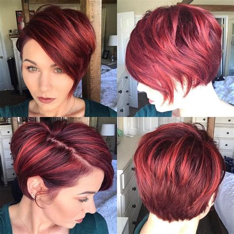 a symmetrical side swept bang pixie women s red highlighted graduated asymmetrical pixie with