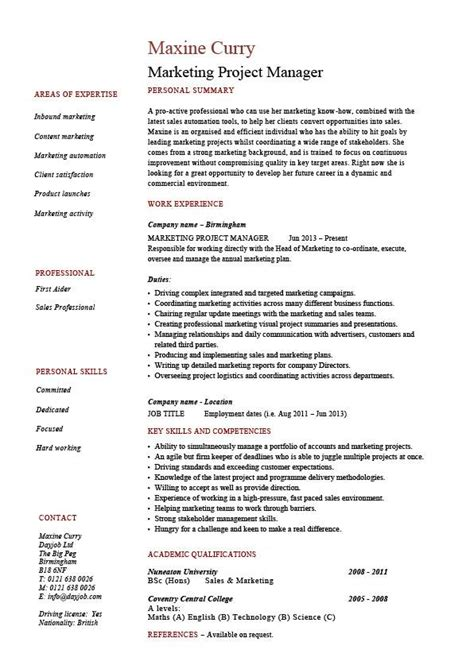 project manager sle resume format marketing project manager resume drumming up business