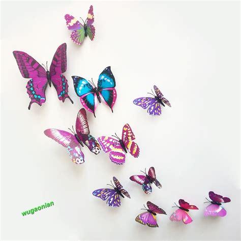 Wall Art Mural 12pcs 3d pvc butterflies diy butterfly art decal home