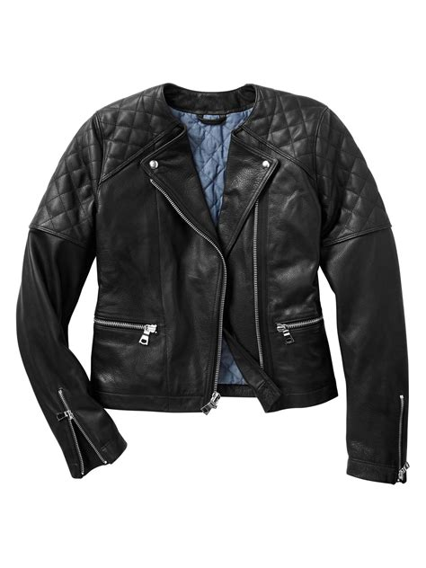 leather moto jacket gap quilted leather moto jacket in black true black lyst