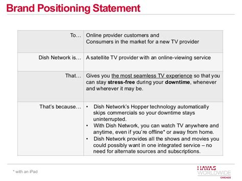 positioning statement template dish network communications plan new brand positioning