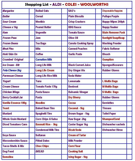 printable shopping list australia shopping lists no excuses