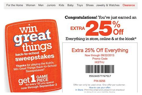 kohls 30 off coupon code without kohls charge