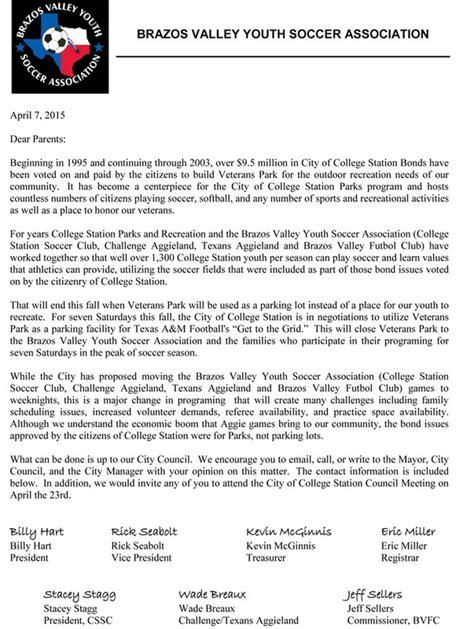 Parent Letter Bug Club Letter To Soccer Parents College Station Soccer Club