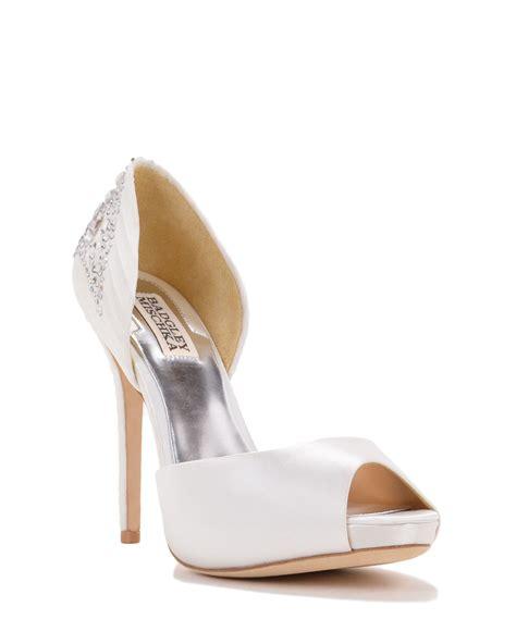 badgley mischka shadow embellished evening shoe in white