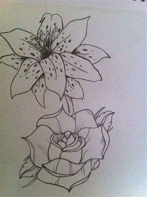 lilies and roses tattoos and drawing lilies and roses