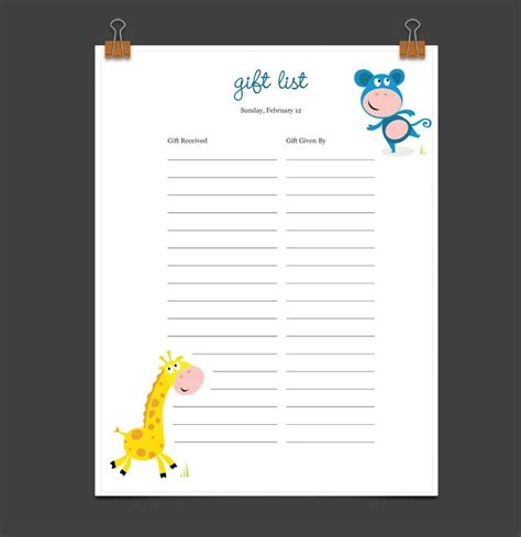 Baby Shower List Of Gifts Template by 8 Best Baby Showers Images On Baby Shower