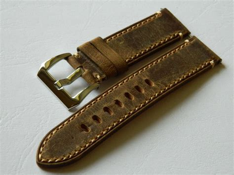 Handmade Straps - 22mm handmade genuine leather tanned vintage