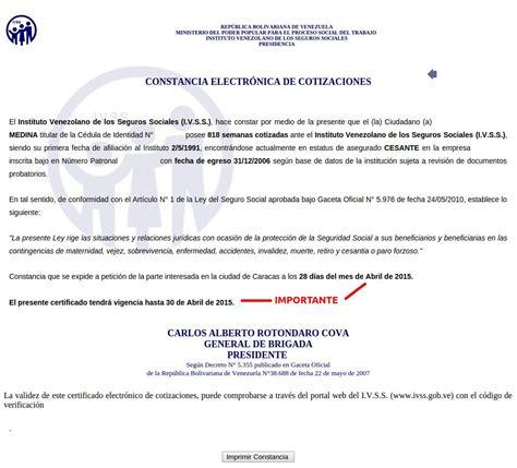 imagenes del ivss venezuela como solicitar la constancia electr 243 nica de cotizaciones