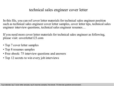 technology sales cover letter technical sales engineer cover letter