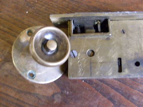 one sided antique brass door knob lock mortice original