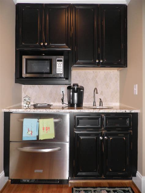 Finished Kitchen Cabinets | vintage onyx distressed finish kitchen cabinets