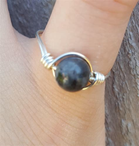 labradorite silver wrapped ring healing jewelry