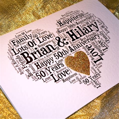50th wedding anniversary personalised cards personalised 50th wedding anniversary sparkle card by