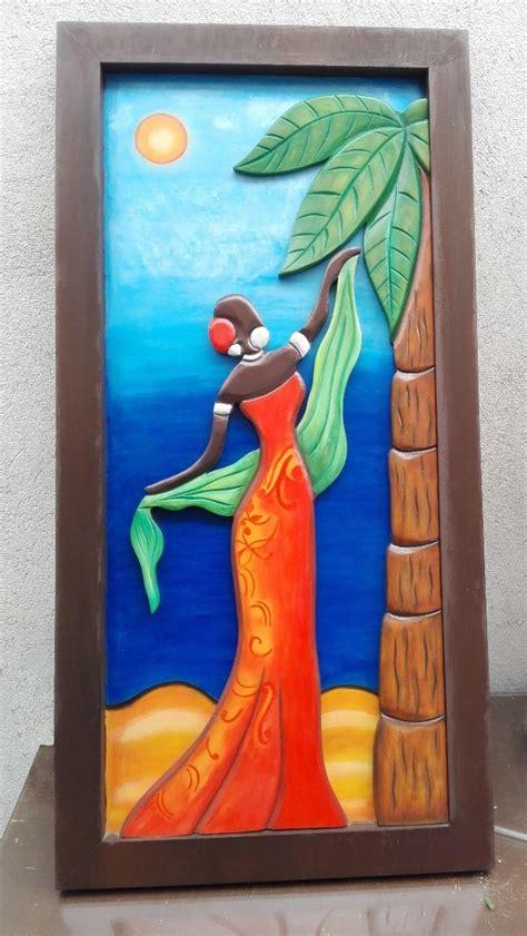 cuadros decorativos tallados en madera africana en relieve  en mercado libre