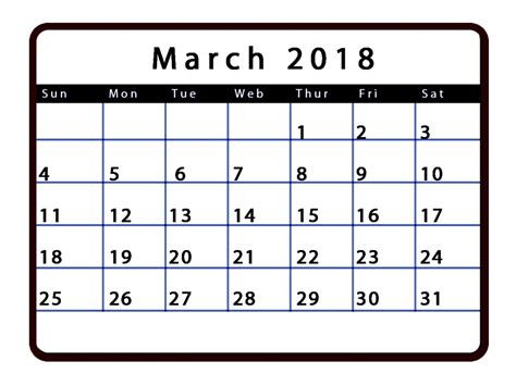 Calendario 2018 Editable March 2018 Calendar Editable Calendar Template Letter